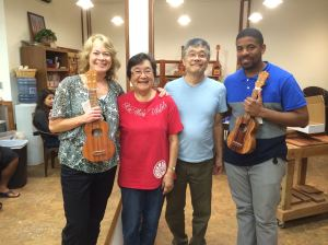 "Posing with ""Moms"" Pat and ""Pops"" Alvin Okami with new ukuleles!"